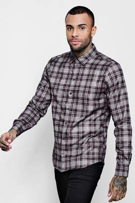 boohoo Burgundy Check Long Sleeve Shirt