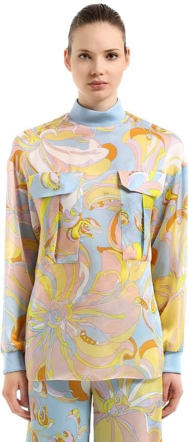 Printed Silk Charmeuse Shirt