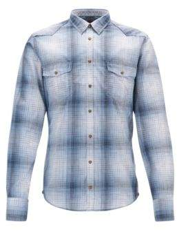HUGO BOSS Plaid Cotton Western Shirt, Extra Slim Fit Erodeo L Open Blue