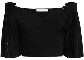 Jonathan Simkhai Cropped Off-the-shoulder Stretch-ponte Top