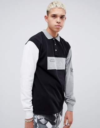 Fila x Liam Hodges Long Sleeve Contrast Block Polo Shirt In Black