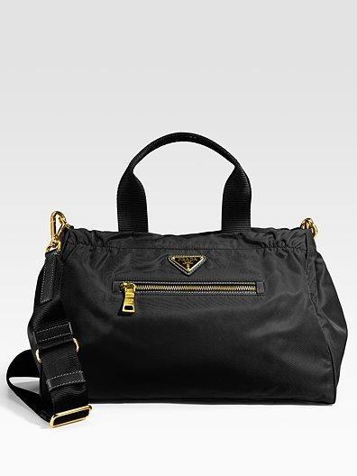 Prada Nylon & Leather Trim Satchel