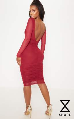 PrettyLittleThing Shape Burgundy Mesh Plunge Back Ruched Bodycon Dress 0ea9430e2