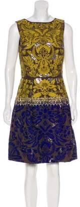 Oscar de la Renta Jacquard Embroidered Sheath Dress