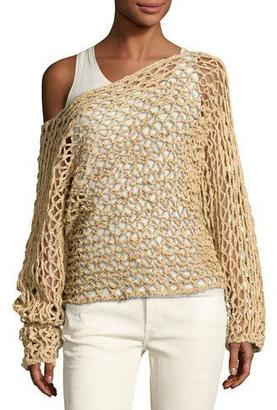Ralph Lauren Collection Crochet Oversized Boat-Neck Sweater, Beige $1,690 thestylecure.com