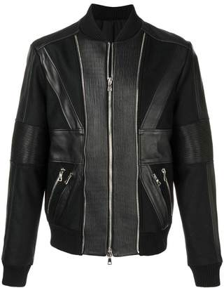 Balmain zip up leather bomber jacket