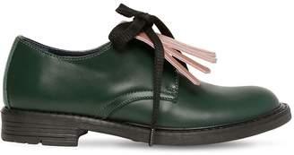 Marni Junior Leather Lace-Up Shoes W/ Fringe