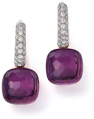 Pomellato Nudo Earrings with Amethyst and Diamonds in 18K White and Rose Gold