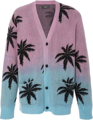 Amiri Palm-Print Cashmere-Blend Cardigan