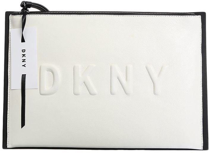 DKNY Black And White Leather Embossed Logo Clutch