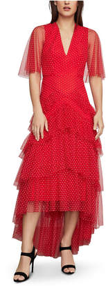 BCBGMAXAZRIA Ruffled High-Low Tulle Gown