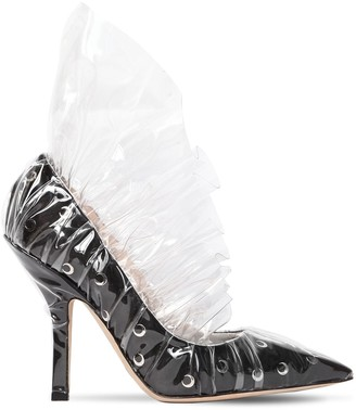 105mm Shell Ruffled Plexi & Satin Pumps
