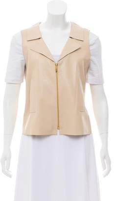 Oscar de la Renta Leather Zip-Up Vest