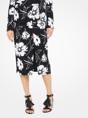 Michael Kors Floral Crepe-Cady Pencil Skirt