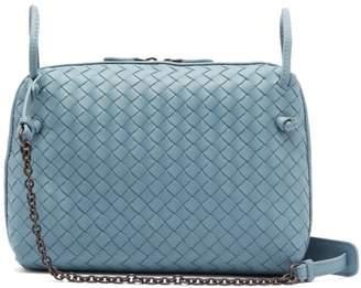 Bottega Veneta Nodini Intrecciato Leather Cross Body Bag - Womens - Light Blue