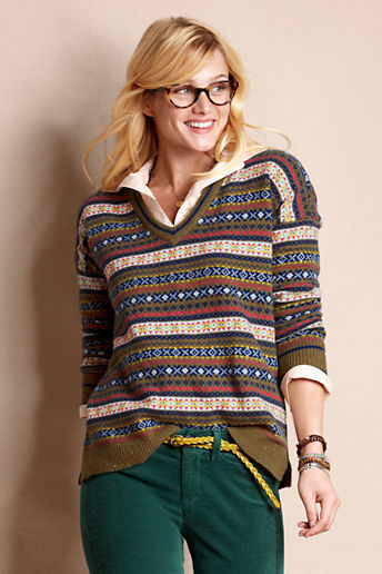 Lands' End Canvas Women's Fair Isle V-Neck Sweater