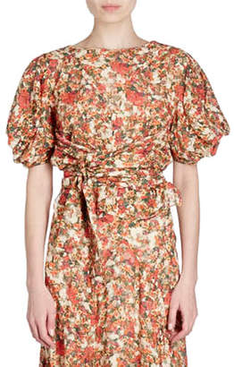 Isabel Marant Fleming Belted Floral-Burnout Short-Sleeve Wrap Top