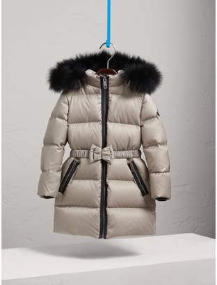 Burberry Down-filled Coat with Detachable Fox Fur-trimmed Hood