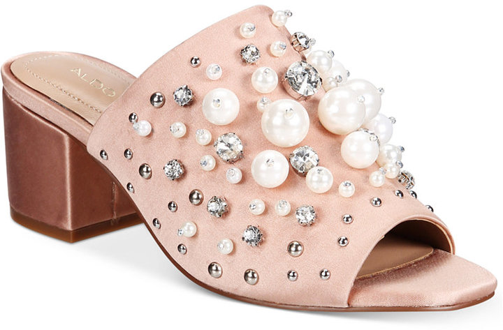 Aldo Women's Pearls Embellished Slides Women's Shoes