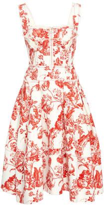 Oscar de la Renta Floral-Print Stretch-Cotton Midi Dress
