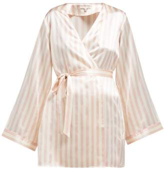 Morgan Lane - Langley Striped Silk Robe - Womens - Pink Stripe