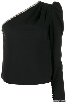 Self-Portrait embellished one-sleeve top