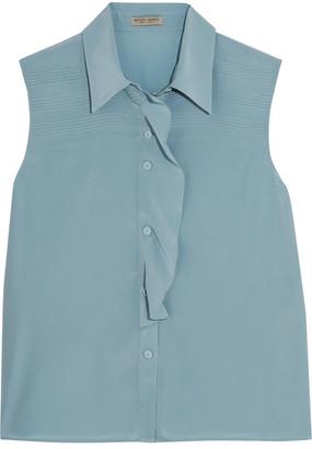 Bottega Veneta - Ruffled Silk Crepe De Chine Blouse - Blue $850 thestylecure.com