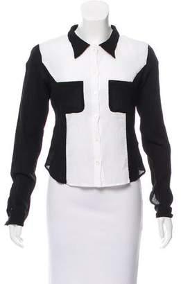 agnès b. Colorblock Button-Up Top