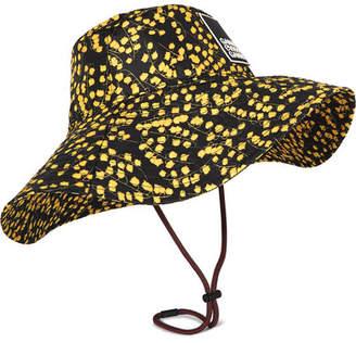 Ganni Appliquéd Floral-print Shell Bucket Hat - Yellow