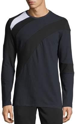 Karl Lagerfeld Paris Men's Long-Sleeve Color-Pieced Crewneck T-Shirt