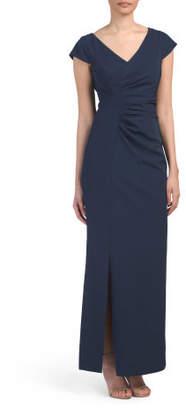Cap Sleeve High Slit Gown