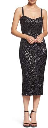 Dress the Population Lynda Leopard Sparkle Tea-Length Dress