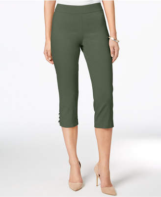 JM Collection Petite Tummy-Control Lattice-Hem Capri Pants, Created for Macy's