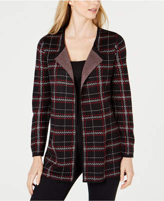 NY Collection Petite Plaid Open-Front Cardigan