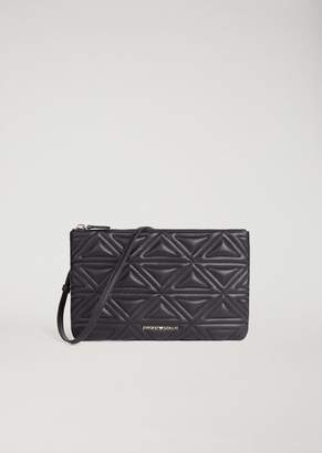 Emporio Armani Clutch In Quilted Faux Leather With Detachable Shoulder Strap