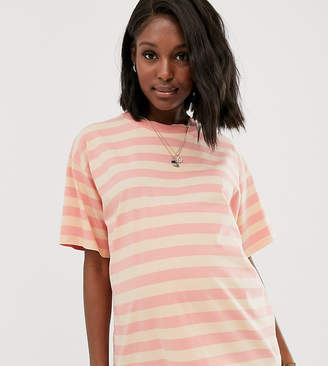 Asos DESIGN Maternity boxy t-shirt in washed stripe