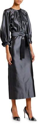 Giorgio Armani Silk Satin 3/4-Sleeve Belted Dress