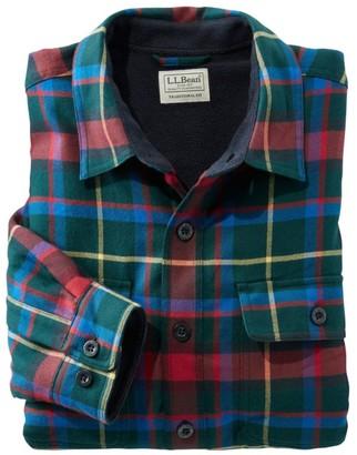 L.L. Bean L.L.Bean Men's Fleece-Lined Flannel Shirt, Traditional Fit