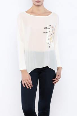 Femme Fatale Printed Pocket Cream Top