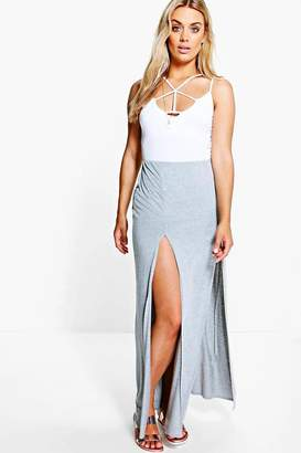boohoo Plus Split Front Maxi Skirt
