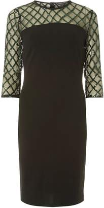 Dorothy Perkins Womens **Black Green Diamond Bodycon Dress