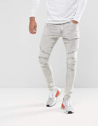 Asos DESIGN extreme super skinny jeans in light gray biker and hem detail