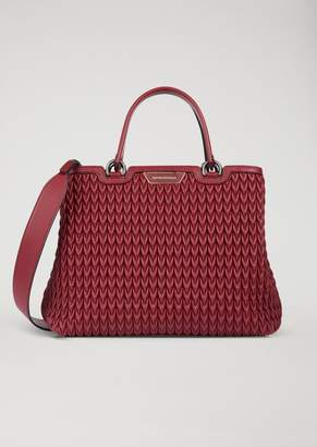 Emporio Armani Shopping Bag In Quilted Faux Nappa Leather With Teardrop Motif