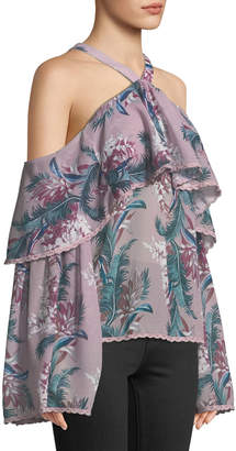 Glamorous Halter-Neck Cold-Shoulder Floral Blouse