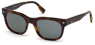 Ermenegildo Zegna Men's Rectangular Tortoise Plastic Sunglasses