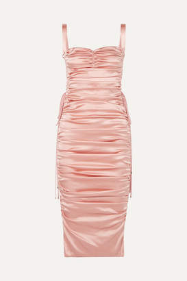 Dolce & Gabbana Lace-up Ruched Stretch-silk Satin Midi Dress - Blush