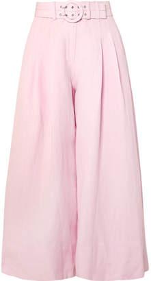 Nicholas Silk And Linen-blend Wide-leg Pants - Pink