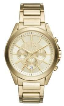 Armani Exchange Drex Stainless Steel Gold Dial Chronograph Bracelet Watch