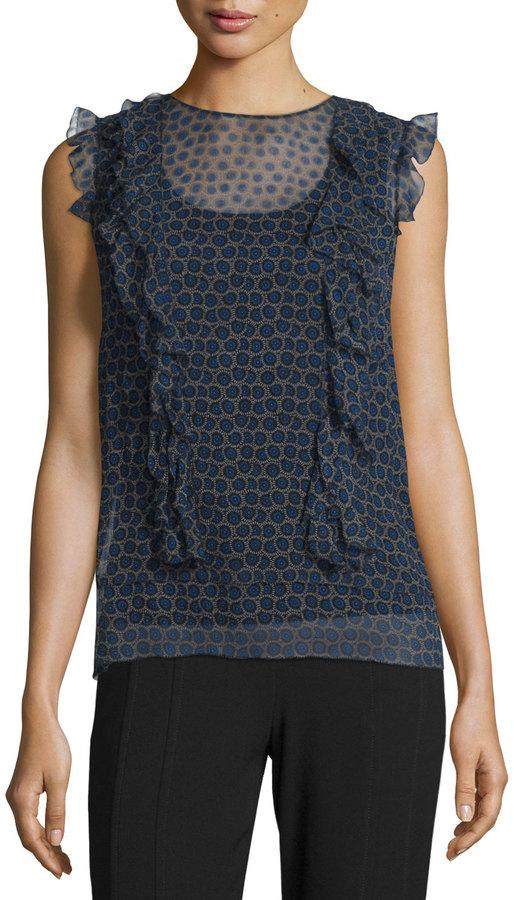 DKNYDKNY Minny Cap-Sleeve Printed Silk Chiffon Blouse, Black
