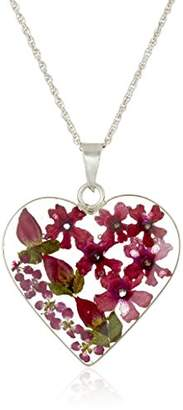 Sterling Silver Pressed Flower Burgundy Heart Pendant Necklace